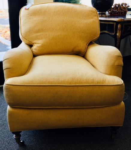 """YELLOW UPHOLSTERED CLUB CHAIR 31""""W X 33""""D X 32""""H $275"""
