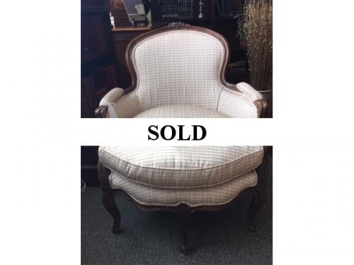 "FRENCH STYLE BERGERE CHAIR 26.5""W X 30""D X 33.5""H $250"