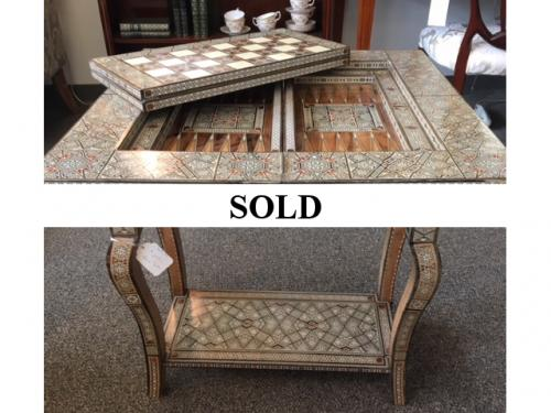 "GAME TABLE W/ INLAY 25""W X 25""D X 28""H 12.5""D FOLDED $250"