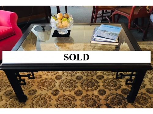 "BLACK COFFEE TABLE ASIAN STYLE MOTIF 50""W X 36""D X 21.5""H $595"