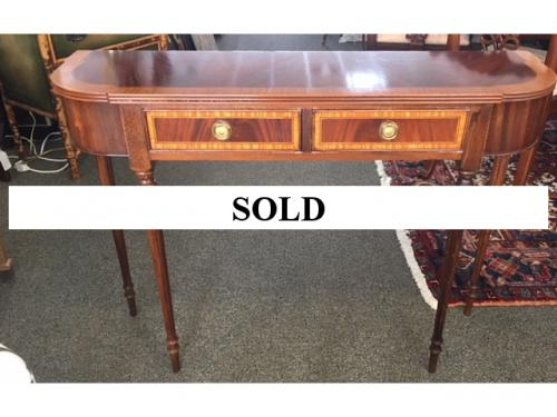 "ENGLISH MAHOGANY BANDED CONSOLE W/ 2 DRAWERS 41""W X 11.5""D X 30""H $995"