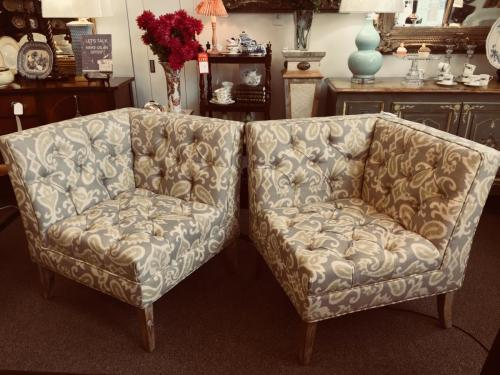 "UPHOLSTERED CORNER CHAIRS 31""W X 31""D X 34""H REG. $495 EACH PRICED TO SELL $396 EACH"