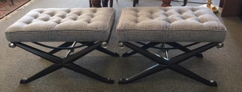 "PR FERGUSON COPELAND BLUE UPHOLSTERED BENCHES 31""W X 21""D X 20.5""H $595 PAIR"