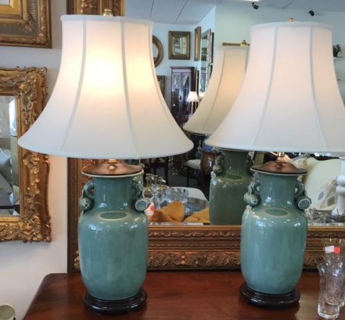 "PR GREEN CRACKLE LAMPS 18""D X 30.5""H $180 PAIR"