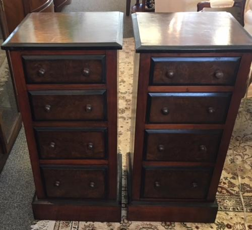 "PR ENGLISH ANTIQUE 4-DRAWER CHESTS 15""W X 14.5""D X 31.5""H $2495 PAIR"