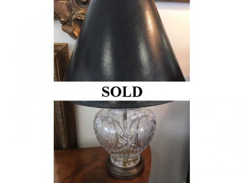 "CRYSTAL LAMP W/ BLACK SHADE 17""D X 24""H $150"