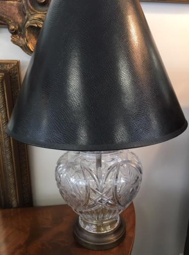 "CRYSTAL LAMP W/ BLACK SHADE 17""D X 24""H $150"