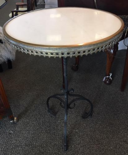 "WHITE MARBLE SIDE TABLE W/ METAL BASE 20.5""DIAMETER X 29""H $395"