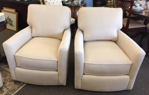 "PR LEE INDUSTRIES CUSTOM UPHOLSTERED CREAM COLOR SWIVEL CHAIRS 30""W X 39""D X 35""H $1495 EACH"