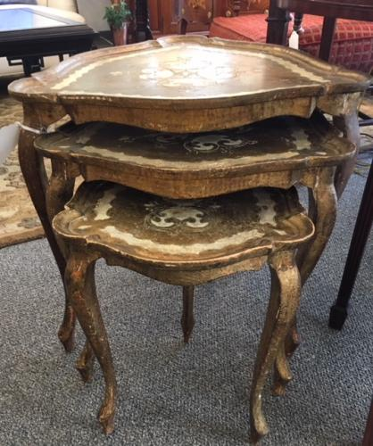 "NEST OF 3 TABLES FLORENTINE FINISH 21.5""W X 21.5""D X 23""H $250"