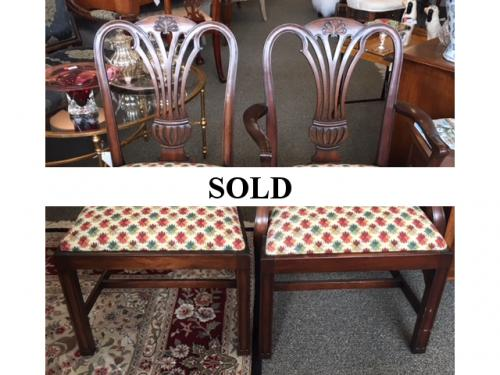 "SET OF 6 MAHOGANY DINING CHAIRS - 4+2 SIDE 21.5""W X 19.5""D X 37""H ARM 24""W X 19.5""D X 38""H $995 SET"