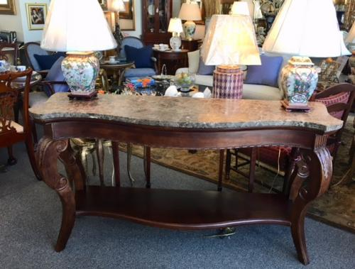 "MARBLE TOP MAHOGANY 2-TIER SERPENTINE CONSOLE TABLE 67""W X 20""D X 36""H $995"