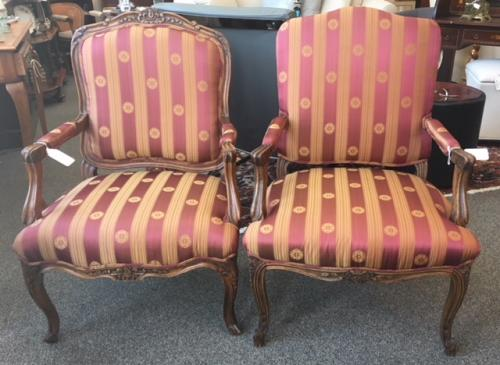 "FRENCH STYLE CHAIRS APPROX 26""W X 21""D X 38""H $295 EACH (NOT A MATCH PAIR)"