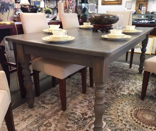 "ENGLISH FARMHOUSE GRAY WASHED DINING TABLE 6'W X 39.5""D X 30""H $895"