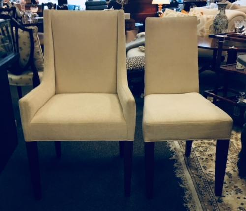 "SET OF 6 (4+2) BEIGE UPHOLSTERED LEE INDUSTRIES DINING CHAIRS SIDE-18""W X 20""D X 38""H ARM-23""W X 21""D X 40""H $595"