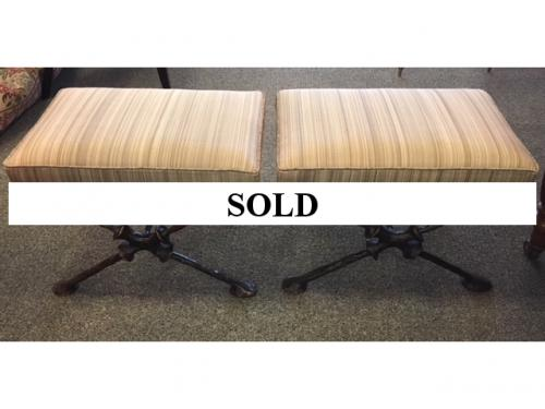 "PR BRONZE CROSSBOW BENCHES 24""W X 18""D X 16.5""H $495 PAIR"