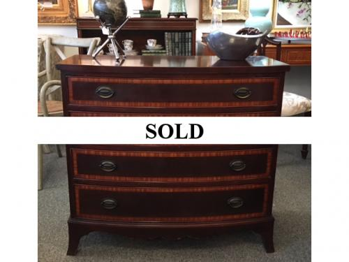 "MAHOGANY 4-DRAWER CHEST W/ INLAY 36""W X 18""D X 33""H $495"