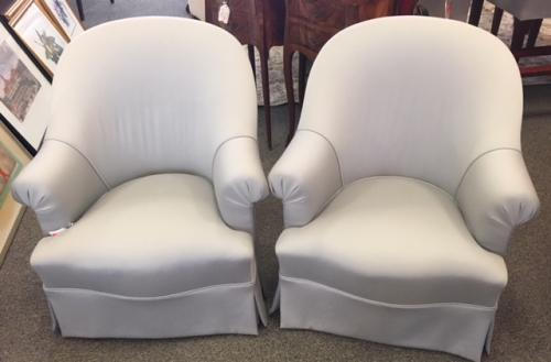 "PR UPHOLSTERED GRAY SLIPPER CHAIRS 24""W X 19""D X 29.5""H $795 PAIR"