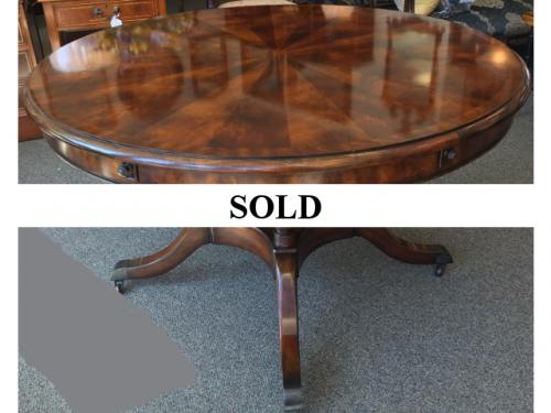 """MAHOGANY DINING TABLE W/ BIRDCAGE BASE 48""""ROUND X 30""""H ADD-ON EXTERIOR LEAVES 12""""W $995"""