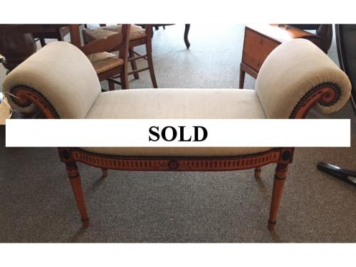 """UPHOLSTERED BEIGE BENCH W/ ROLLED ARMS 44""""W X 18""""D X 27.5""""H $350"""