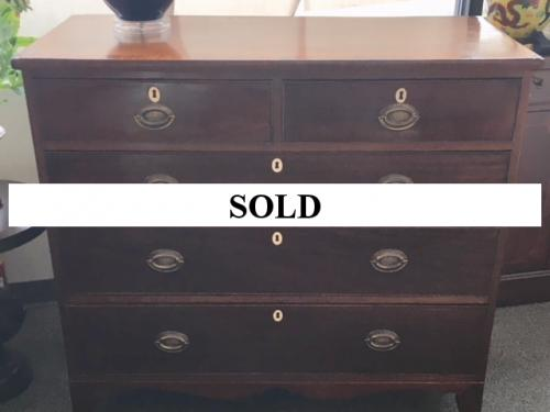 """2 OVER 3 ENGLISH ANTIQUE MAHOGANY CHEST 43.5""""W X 20""""D X 39.5""""H $595"""