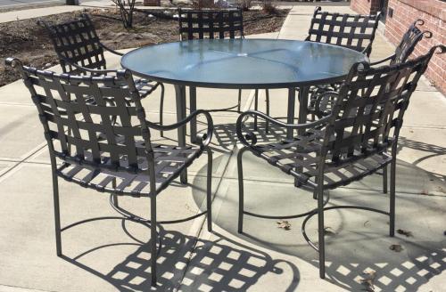 "BROWN JORDAN ROMA STRAP RESTORED BRONZE 60"" ROUND TABLE W/ 6 CHAIRS $1295"