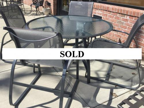 """TROPITONE RESTORED GRAY 51"""" ROUND TABLE W/ 4 CHAIRS $695"""
