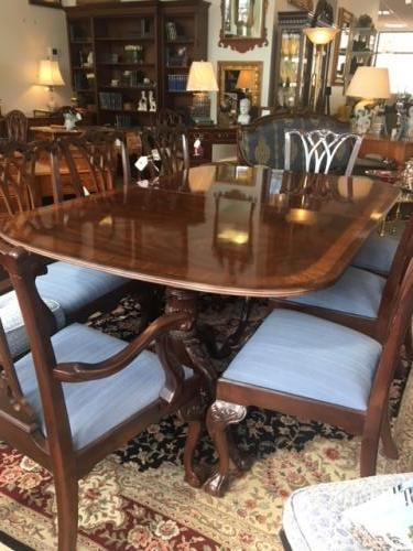 "SET MAHOGANY DOUBLE PEDESTAL DINING TABLE SATINWOOD BANDING W/ 8 CHAIRS 48""W X 74""L  - 2 LEAVES-22""W $1995"