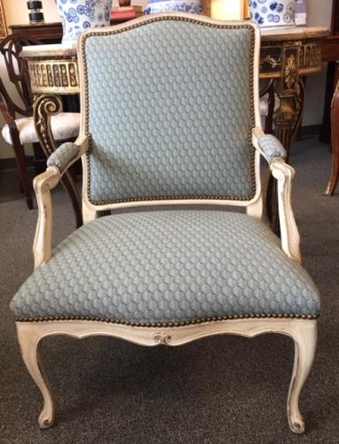 "FRENCH BERGERE CHAIR 26""W X 20""D X 36.5""H $295"