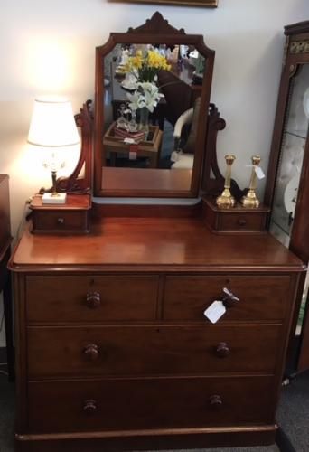 "ENGLISH MAHOGANY 2 OVER 2 DRESSING CHEST W/ MIRROR 41""W X 21""D X 64""H $1695"