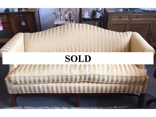 """GOLD CAMEL BACK STRIPED SOFA BY LEE INDUSTRIES 70""""W X 27""""D X 34""""H $795"""