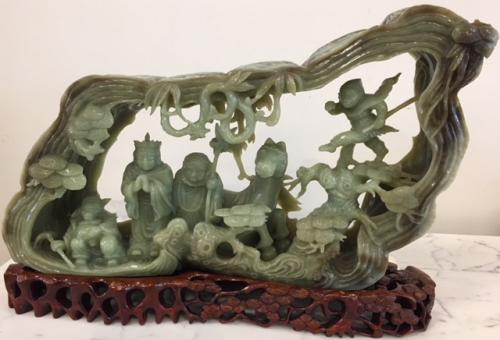 NATURAL BOULDER CARVING IN NEPHRITE ON STAND c19th CENTURY CHINA $1295