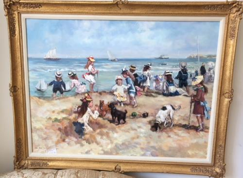 """ORIGINAL OIL PAINTING CHILDREN PLAYING AT THE BEACH 47""""W X 38""""H $395"""