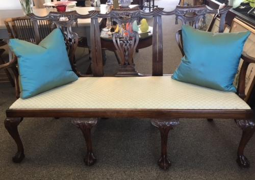 """ENGLISH CHIPPENDALE ANTIQUE MAHOGANY TRIPLE SETTEE 66""""W X 21""""D X 38""""H $2595"""