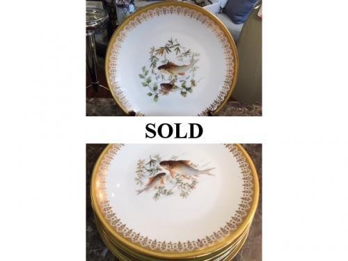 "SET OF 8 LIMOGES 9"" FISH PLATES $98"
