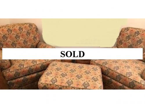 BRUNSCHWIG & FILS UPHOLSTERED PAIR OF CLUB CHAIRS AND OTTOMAN