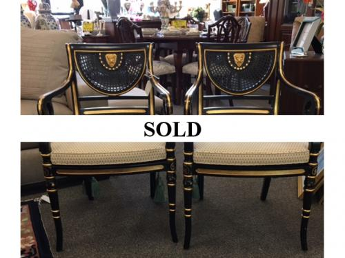 PAIR OF BLACK/GOLD CHAIRS