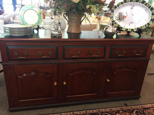 """ENGLISH SOLID CHERRY SERVE CABINET W/ BLACK TOP/ACCENTS 66""""W X 19""""D X 33""""H $795"""