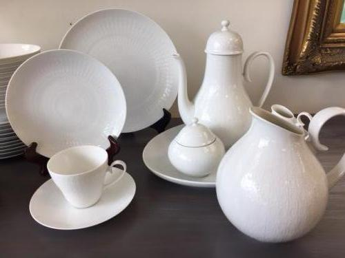 """SERVICE FOR 12 VINTAGE ROSENTHAL CHINA """"WHITE ROMANCE"""" W/ SERVE PIECES $450"""