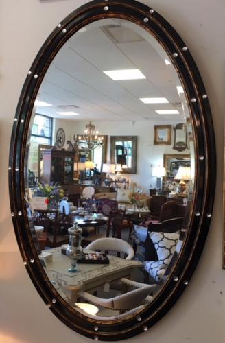 """BLACK OVAL MIRROR W/ MOTHER OF PEARL 24""""W X 45""""H $595"""