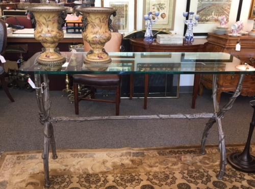 """HOLLY HUNT GLASS TOP CONSOLE W/ METAL BASE 56""""W X 20""""D X 35""""H $795"""