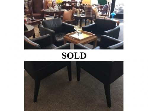 SET OF 4 FAUX BLACK CROCODILE CHAIRS