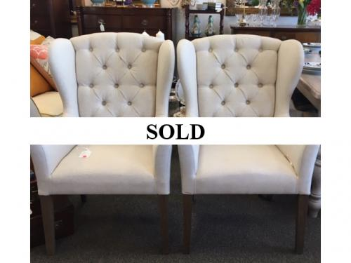PAIR HOST/HOSTESS TUFTED WING BACK CHAIRS