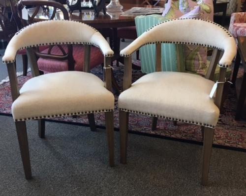 PAIR OF BEIGE SIDE CHAIRS WITH NAILHEADS