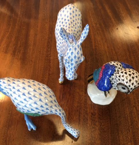 HEREND OSTRICH-BLUE $220 HEREND DONKEY-BLUE $225 HEREND OWL-BLACK $220