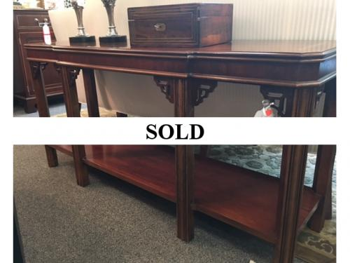 2 TIER MAHOGANY CONSOLE TABLE-CHIPPENDALE STYLE