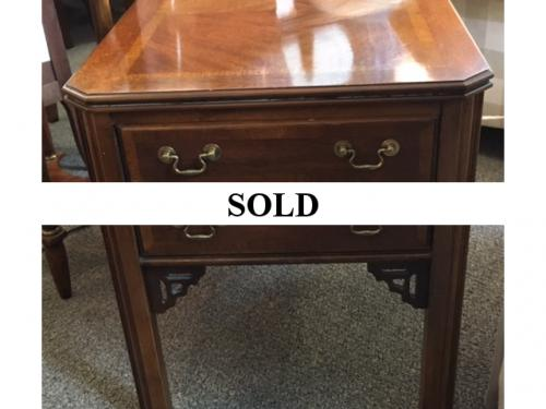 MAHOGANY 2 DRAWER END TABLE-CHIPPENDALE STYLEf