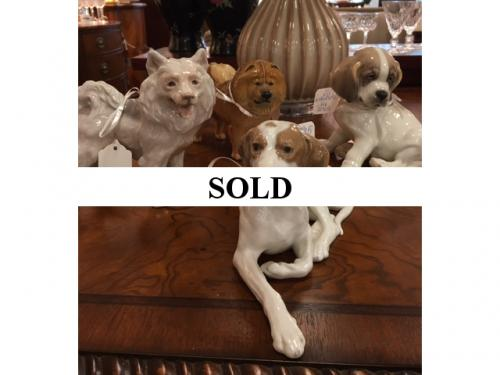 COLLECTION OF DOG FIGURINES INCLUDING ROYAL COPENHAGEN & NYMPHENBURG