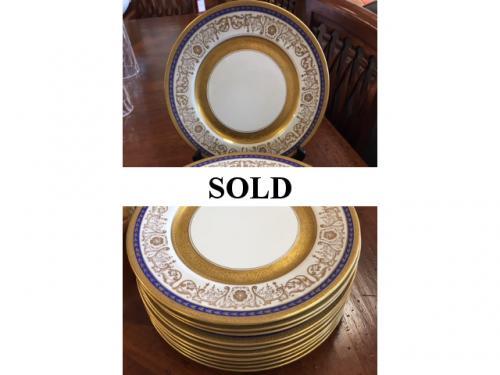 SET OF 12 COBALT BLUE & GOLD DINNER PLATES