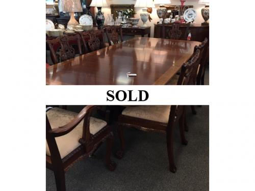 "MAHOGANY DOUBLE PEDESTAL ROSEWOOD BANDED DINING TABLE WITH 2 LEAVES 46""W X 116""L $1495"